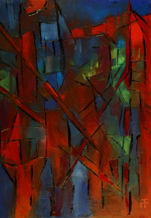 Vitrail-hetres-pourpres- - Peinture,  36,2x28,7 in, ©2014 par Thierry Faure -                                                                                                                                                                                                                      Abstract, abstract-570, abstrait;contemporain, moderne