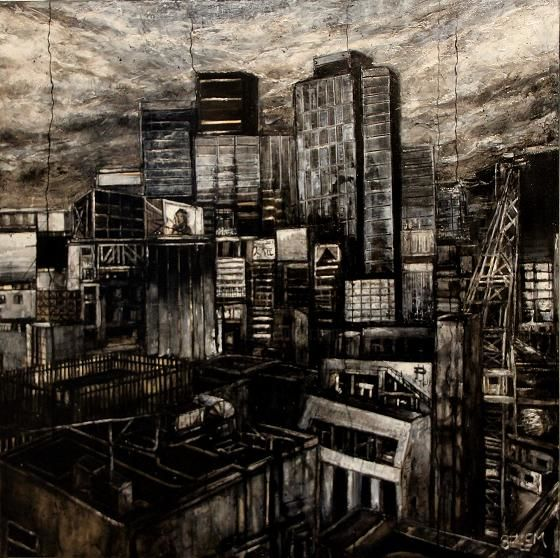 tokyo-buildings-a1.jpg - Painting ©2014 by Thierry Sellem -