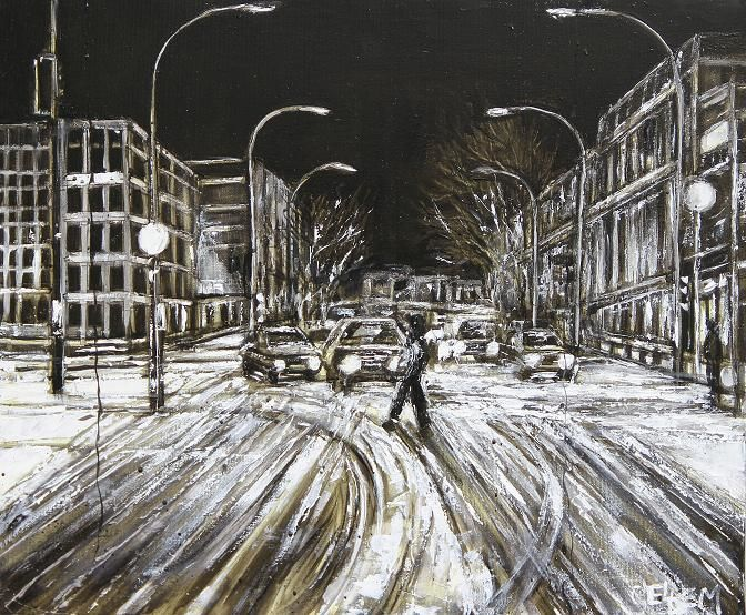 avenue-a-montreal-sous-la-neige-a1.jpg - Painting ©2014 by Thierry Sellem -