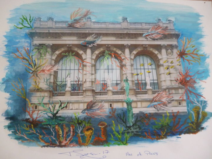 MUSEE GALLIERA - Painting,  11.8x16.9 in, ©2017 by THIERRY SINGER (Prince Singer de Polignac) -                                                                                                              Architecture, MUSEE GALLIERA