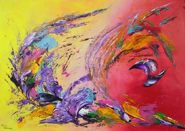 vision-of-paradise - ©  Paradis, paradise, yellow, red, rouge, jaune, Thierry Vobmann, original painting, peinture au couteau, organic abstract, palette knife, coloured, energetic, lumière, couleur, art contemporain, abstrait, Peinture, Acrylique, Art abstrait, Expressionnisme abstrait, Toile, peinture abstraite, acrylique, abstract expressionism, en stock, peinture originale, textured abstract, canvas, peinture contemporaine, art abstrait, modern, latest original art, new abstract expressionism, home decoration, wall decor, palette knife painting, orange, pourpre, purple, Coton, original abstract, expressionisme abstrait, ready to hang, home decor, wall decoration, coloured artwork, contemporary painting, new this week, noir, black, color explosion, expressionnisme abstrait, pret à accrocher, grand format Online Artworks