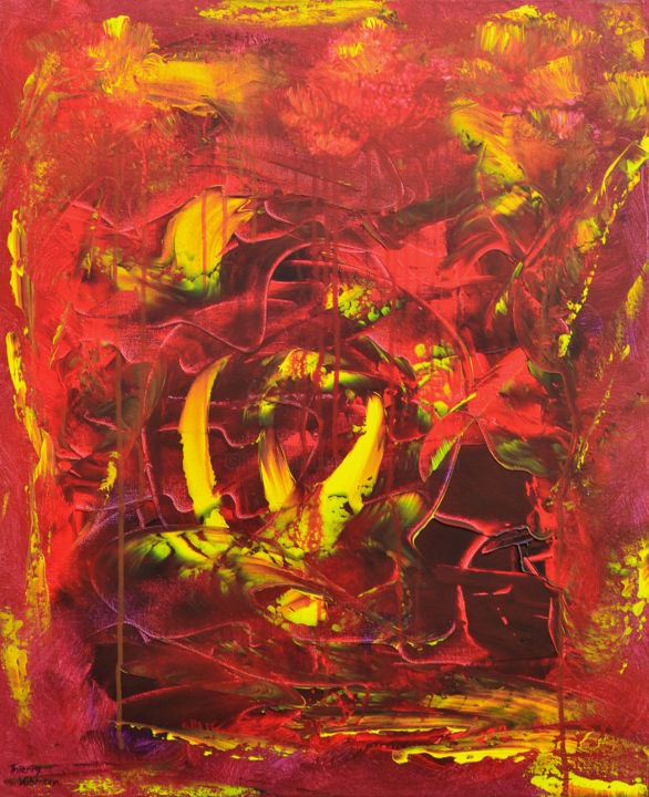 the-golden-river-1 - Painting,  73x60x2 cm ©2015 by Thierry Vobmann -                                                                        Abstract Art, Abstract Expressionism, Canvas, Abstract Art, peinture abstraite, rouge, jaune, peinture au couteau, art contemporain, Thierry Vobmann, artiste peintre, original painting, organic abstract, contemporary, palette knife, acrylic, coloured, energetic, canvas, abstract, red, yellow, movement, Peinture, Acrylique, Art abstrait, Expressionnisme abstrait, Toile, acrylique, abstract expressionism, en stock, peinture originale, textured abstract, peinture contemporaine, art abstrait, modern, latest original art, new abstract expressionism, home decoration, wall decor, palette knife painting, orange, Coton, original abstract, expressionisme abstrait, ready to hang, home decor, wall decoration, coloured artwork, contemporary painting, new this week, noir, black, color explosion, expressionnisme abstrait, pret à accrocher, grand format