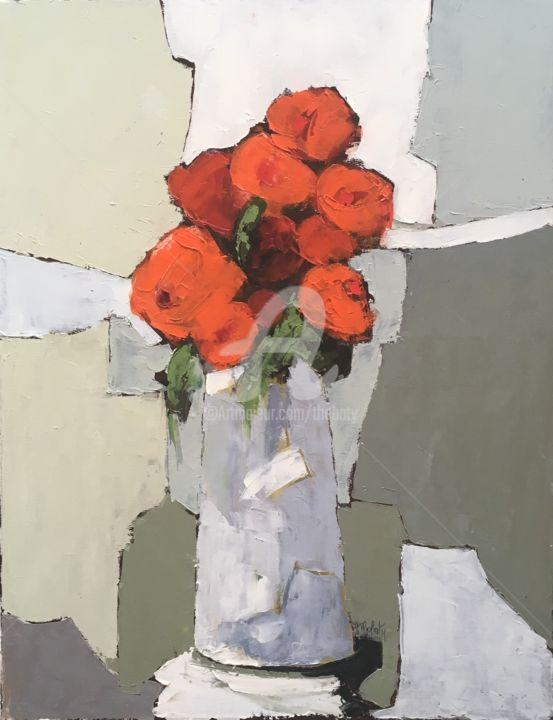Bouquet rouge - Painting,  25.6x19.7 in, ©2019 by Thobaty -