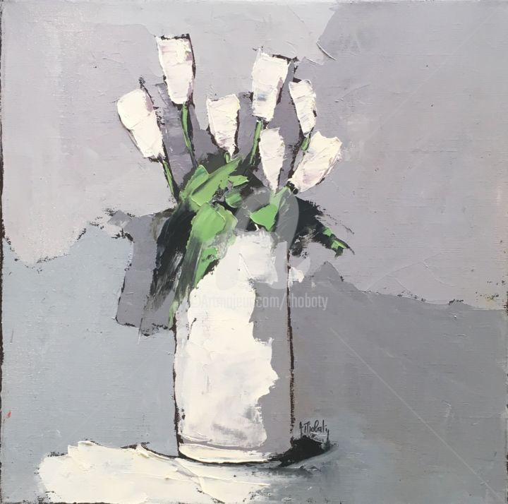 Bouquet blanc - Painting,  15.8x15.8 in, ©2019 by Thobaty -