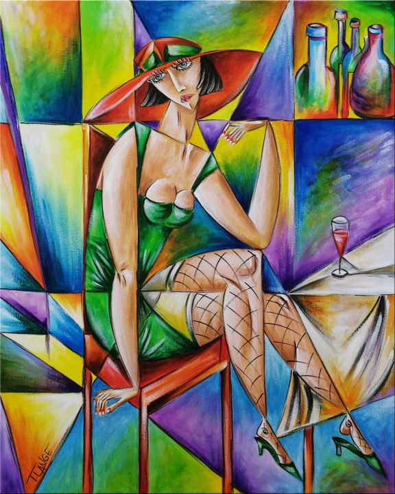 """Painting titled """"Woman Chillout #M28"""" by Thomas Lange, Original Art, Acrylic Mounted on Stretcher frame"""