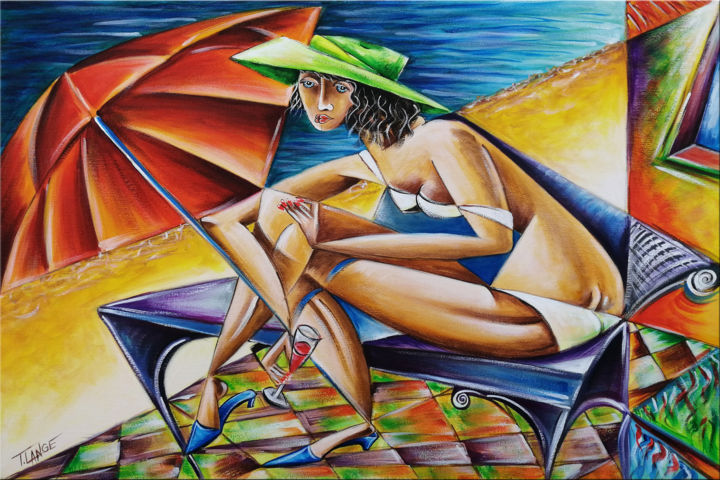 """Painting titled """"Woman Chillout #M29"""" by Thomas Lange, Original Art, Oil Mounted on Stretcher frame"""