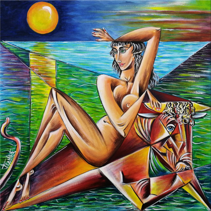 """Painting titled """"Woman Chillout #M35"""" by Thomas Lange, Original Art, Acrylic Mounted on Stretcher frame"""
