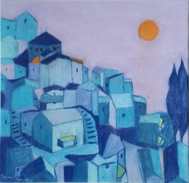 """Painting titled """"French Hilltop Vill…"""" by Thomas Patchell, Original Art, Pastel"""