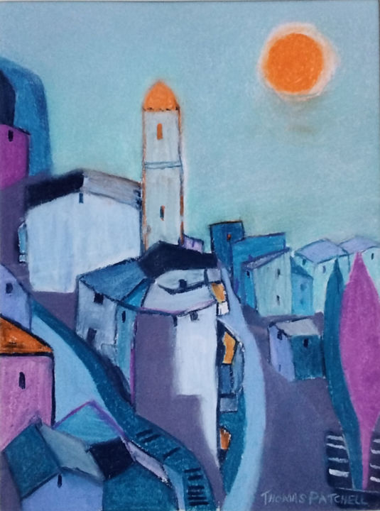 """Painting titled """"French Town 1"""" by Thomas Patchell, Original Art, Pastel"""