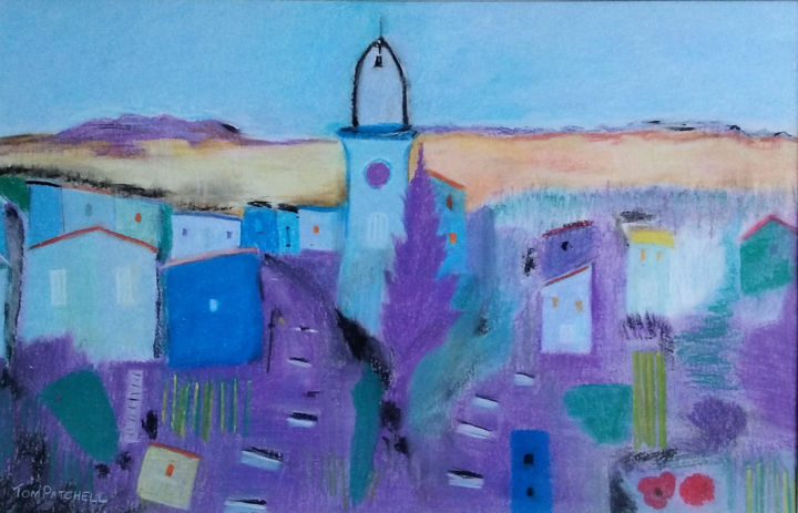 """Painting titled """"French Hilltop Town…"""" by Thomas Patchell, Original Art, Pastel"""