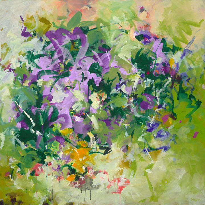 Summer Breeze - Painting,  39.4x39.4x1.6 in, ©2015 by Thomas Steyer -                                                                                                                                                                                                                                                                                                                                                                                                          Expressionism, expressionism-591, Abstract Art, expressive, green, happy, brushy, violet