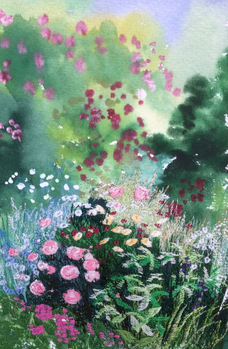 flowers-for-romancing.jpg - Painting,  20x18x0.5 cm ©2018 by Ann Dunbar -                                                                                    Contemporary painting, Other, Paper, Flower, Garden, flower, garden, spring, embroidery