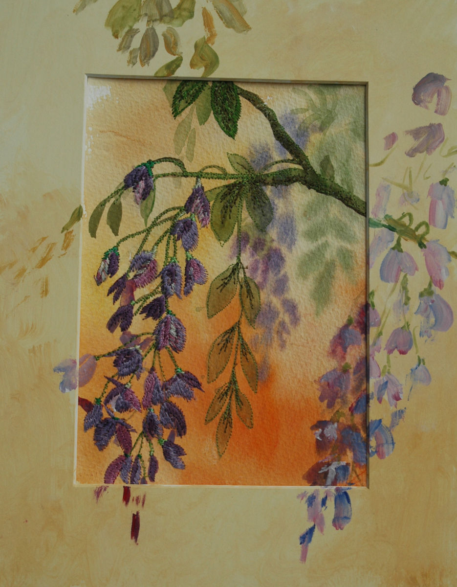 Wisteria branches - Painting,  30x24x1.5 cm ©2014 by Ann Dunbar -                                                            Impressionism, Other, Flower, wisteria, embroidery, romanticflowers, spring
