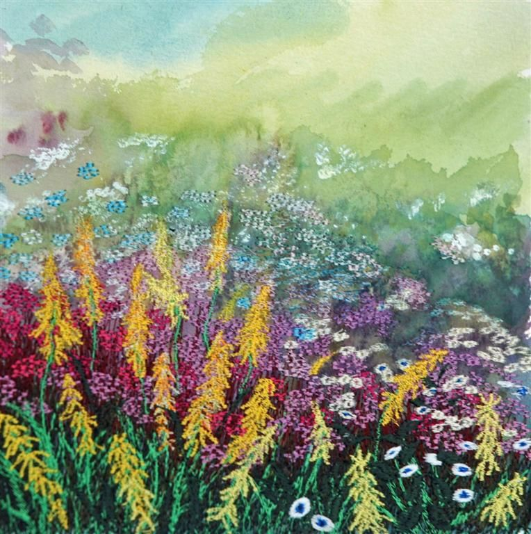 golden-spears-large.jpg - Painting,  30x30x1 cm ©2013 by Ann Dunbar -                                                            Impressionism, Paper, Garden, Yellowflowers, Englishgarden, embroidery, flowers