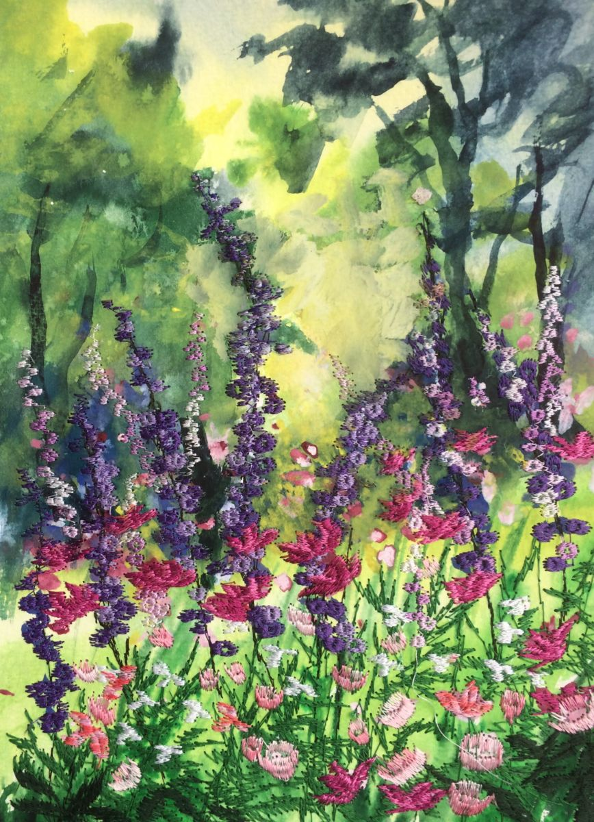colourful-corner-in-the-shade.jpg - Painting,  40x30x1 cm ©2018 by Ann Dunbar -                                                            Impressionism, Paper, Garden, roses; lupins; garden, embroidery, sunshine, cosmos, flowers, summer