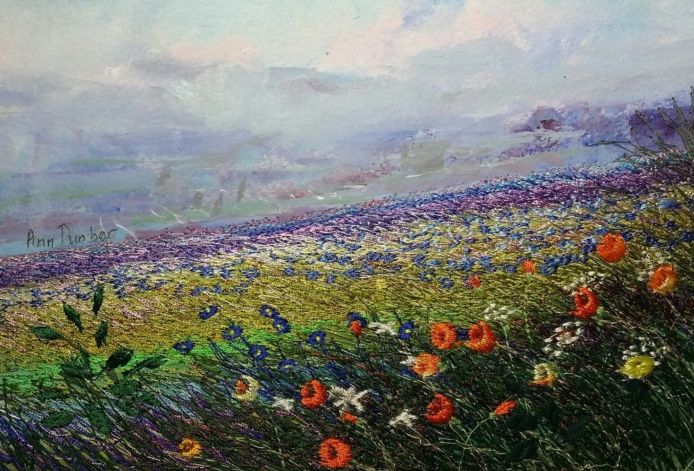 provence-passion-1.jpg - Painting,  24x30x1 cm ©2017 by Ann Dunbar -                                                            Impressionism, Paper, Landscape, floral, landscape, wildflowers, embroidery