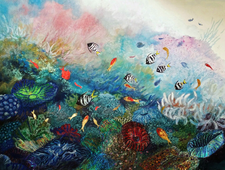 Oceanarium - © 2017 underwater, marine-life, corals, seabed, embroidery, mixed media, colourful fish Online Artworks