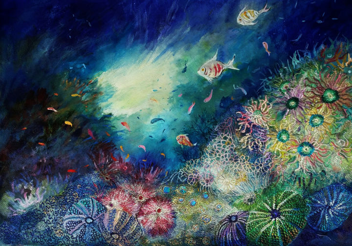 A Shaft of Light - Painting,  56x76x0.5 cm ©2017 by Ann Dunbar -                                                            Classicism, Paper, Seascape, underwater, aquarium, fish, mixed media, embroidery