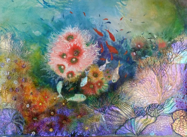 Flourish and Blossom - Painting,  56x76x0.5 cm ©2017 by Ann Dunbar -                                                            Classicism, Paper, Seascape, underwater, fish, corals, seascape, mixed media, embroidery, tropical fish, aquarium