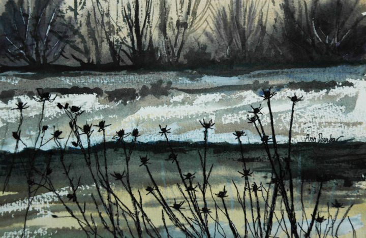 Winter Teasels - Painting,  6.9x9.3x0.2 in, ©2019 by Ann Dunbar -                                                                                                                                                                                                                                                                                                                                                                                                                                                      Impressionism, impressionism-603, Landscape, Teasels, Embroidery, Watercolor, winter, snow, lake