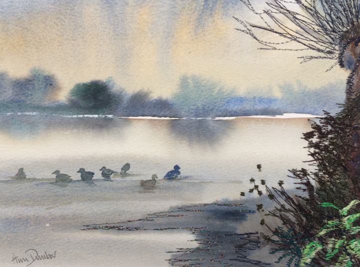 Gather together - Painting,  6.9x9.3x0.2 in, ©2019 by Ann Dunbar -                                                                                                                                                                                                                                                                                                                                                              Impressionism, impressionism-603, Landscape, ducks, lake, embroideredwatercolour, sunrise