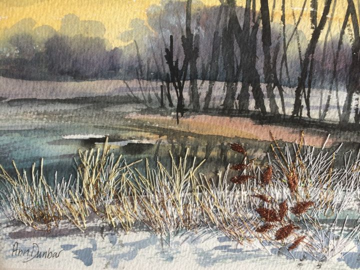 Snow Sunset - Painting,  5.5x7.5x0.2 in, ©2019 by Ann Dunbar -                                                                                                                                                                                                                                                                                                                                                                                                                                                                                                                                                                                          Impressionism, impressionism-603, Landscape, winter, lakescene, embroidery, frozentrees, snow, ice, limitedcolour, snowscene, watercolour