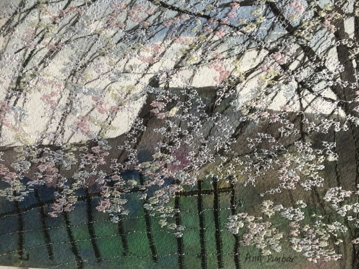 Spring Overflow - Painting,  5.7x7.7x0.2 in, ©2019 by Ann Dunbar -                                                                                                                                                                                                                                                                                                                                                                                                                                                      Impressionism, impressionism-603, Landscape, blossom, springtime, embroidered, cherrytree, cherryblossom, whiteblooms