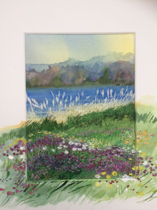Wild Brittany Bounty 1 - Painting,  7.9x5.9x0.2 in, ©2019 by Ann Dunbar -                                                                                                                                                                                                                                                                                                                                                                                                                                                                                                  Impressionism, impressionism-603, Landscape, brittany, coast, seaside, rushes, wildscenery, wildflowers, embroidery