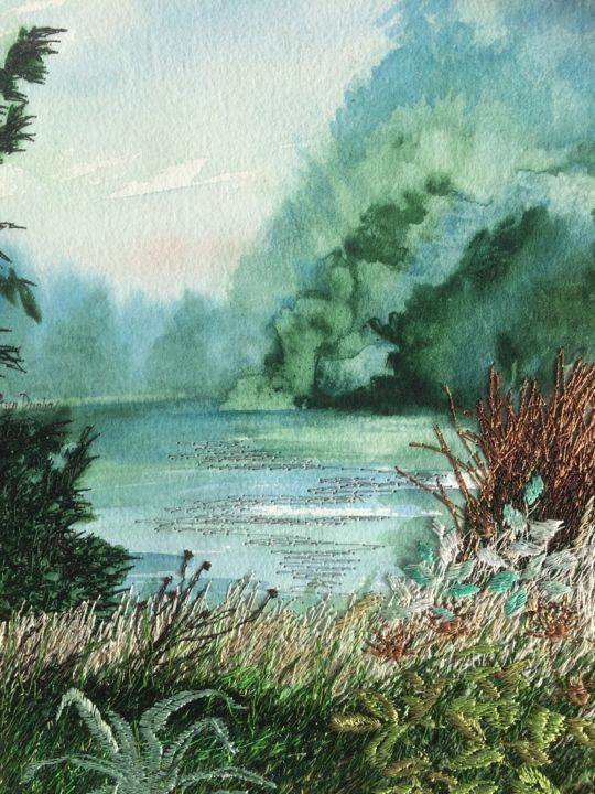 A tranquil Place - Painting,  9.1x6.9x0.2 in, ©2019 by Ann Dunbar -                                                                                                                                                                                                                                                                                                                                                                                                                                                      Impressionism, impressionism-603, Landscape, lake, park, wildlife, blue, morning, embroidery