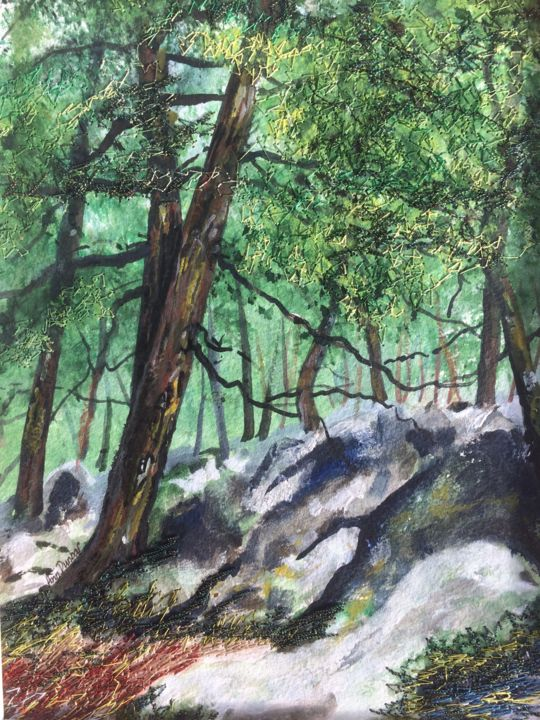 Fontainbleau Forest - Painting,  9.5x7.1x0.2 in, ©2019 by Ann Dunbar -                                                                                                                                                                                                                                                                                                                                                                                                                                                                                                  Impressionism, impressionism-603, Landscape, forest, trees, embroidery, fontainbleau, green, spring, rocksinforest