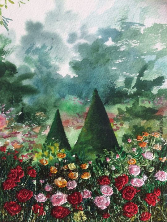 Roses in Royal garden - Painting,  9.1x6.9x0.2 in, ©2019 by Ann Dunbar -                                                                                                                                                                                                                                                                                                                                                                                                                                                                                                  Impressionism, impressionism-603, Garden, rosegarden, bagatelle, garden, summer, roses, embroidery, parisgarden