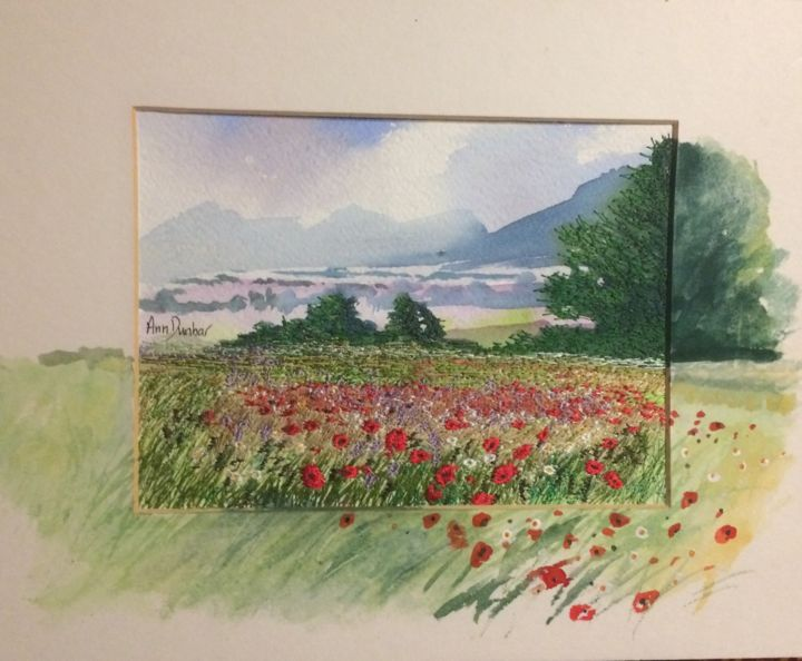Provençal Plenitude - Painting,  5.7x7.5x0.2 in, ©2019 by Ann Dunbar -                                                                                                                                                                                                                                                                                                                                                                                                          Impressionism, impressionism-603, Landscape, poppies, provence, field, embroidery, watercolourlandscape