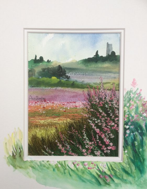 Summer Contrasts - Painting,  7.7x5.7x0.2 in, ©2019 by Ann Dunbar -                                                                                                                                                                                                                                                                                                                                                                                                                                                      Impressionism, impressionism-603, Landscape, summer, provence, fields, wildzone, flowering, embroidery