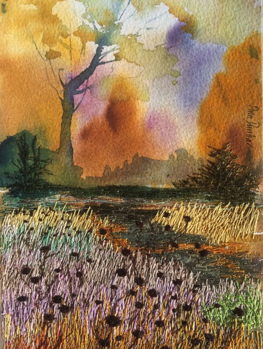 Autumn Surprise - Painting,  7.7x5.7x0.2 in, ©2019 by Ann Dunbar -                                                                                                                                                                                                                                                                                                                                                                                                                                                      Impressionism, impressionism-603, Landscape, wood, trees, autumn, autumnscene, embroidery, gold