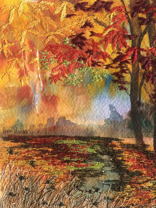 Trees turn to Gold - Painting,  7.7x5.7x0.2 in, ©2013 by Ann Dunbar -                                                                                                                                                                                                                                                                                                                                                                                                                                                                                                  Impressionism, impressionism-603, Landscape, trees, embroidery, gold, brightcolor, autumn, forest, watercolour