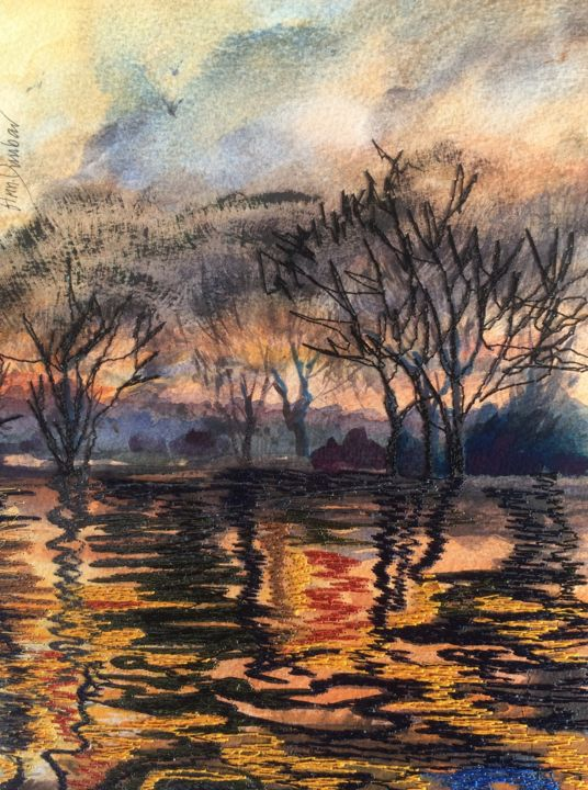 Sunset at Versailles garden 2 - Painting,  9.1x7.5x0.2 in, ©2019 by Ann Dunbar -                                                                                                                                                                                                                                                                                                                                                                                                                                                                                                  Impressionism, impressionism-603, Landscape, trees, winter, sunset, versaillesparc, lake, embroidery, gold