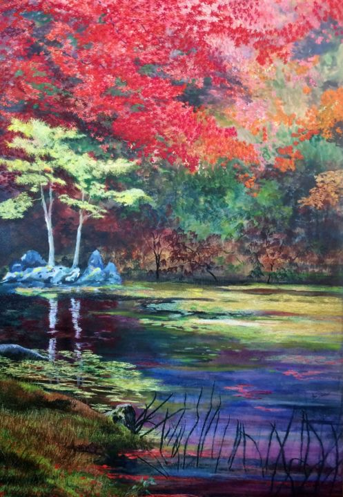 In the peace and calm - Painting,  47.2x31.5x2.8 in, ©2019 by Ann Dunbar -                                                                                                                                                                                                                                                                                                                                                                                                                                                                                                                                                                                          Impressionism, impressionism-603, Garden, garden, autumn, japan, kyoto, reds, pond, rockgarden, pine tree, embroidery