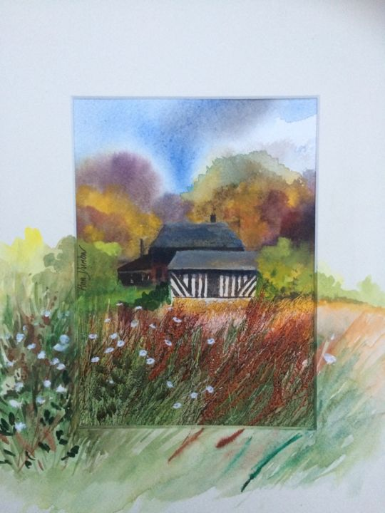 Maison d'Auge Autumn tints - Painting,  7.9x5.9x0.2 in, ©2019 by Ann Dunbar -                                                                                                                                                                                                                                                                                                                                                                                                                                                                                                  Impressionism, impressionism-603, Landscape, normandie, normandy region, barn, farmingland, embroidery, autumn scene, wild field
