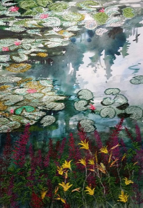 Waterlily dream haven - Painting,  41x36 cm ©2014 by Ann Dunbar -                                                            Impressionism, Paper, Flower, Waterlilies, Monet's garden, Giverny