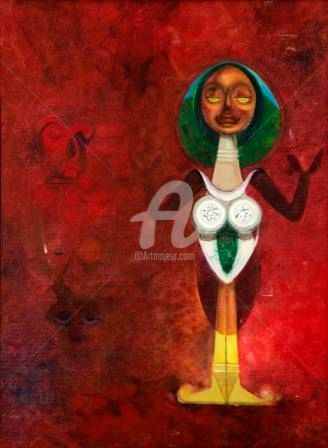 """Painting titled """"THE TRADITIONAL MOT…"""" by Thushara A., Original Art, Oil"""