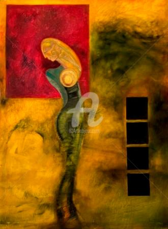 """Painting titled """"THE TRADITIONAL WOM…"""" by Thushara A., Original Art, Oil"""