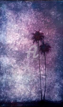 """Painting titled """"THE MOON OVER THE N…"""" by Thushara A., Original Art, Oil"""