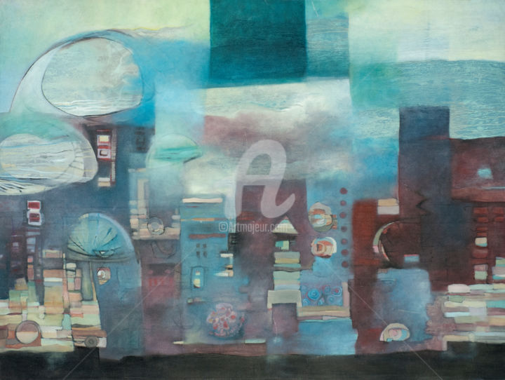 """Painting titled """"THE URBAN JUNGLE"""" by Thushara A., Original Art, Oil"""