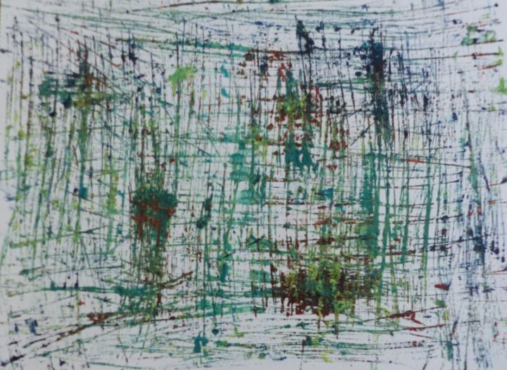 Etude  12/19  A - Painting,  11.8x16.5 in, ©2019 by bdumont -                                                                                                                          Expressionism, expressionism-591