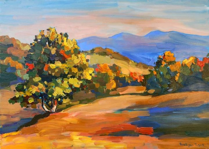 Autumn landscape - Painting,  25.6x35.4x0.8 in, ©2015 by Tigran Avetyan -                                                                                                                                                                          Abstract, abstract-570, Landscape