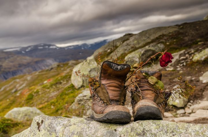 Retiring - Photography,  31.5x47.2 in, ©2020 by Alexandru Neagu -                                                                                                                                                                                                                                                                                                                                                                                                                                                                                                                          Nature, hikking, mountain, flower, boots, old, nature, adventure, rokx, norway, autumn