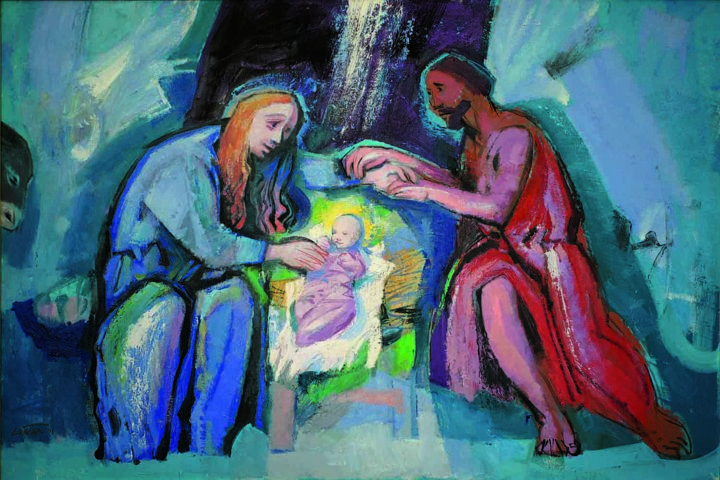 """Painting titled """"Birth of Christ"""" by Tihomir Loncar, Original Art,"""