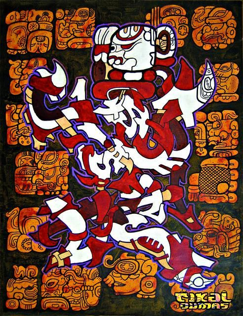 """Painting titled """"Cannibale Robot"""" by Tikal, Original Art,"""