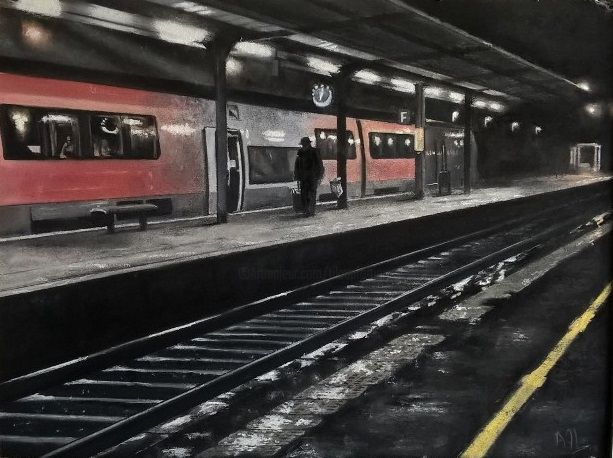 Gare solitude - Drawing,  11.8x15.8 in, ©2019 by Alain FORTIER -