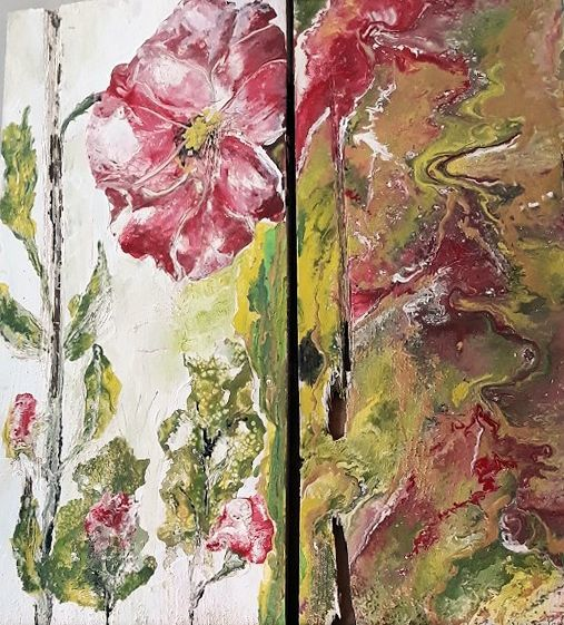 Diptyque Fleurs - Painting,  19.7x11.8 in, ©2019 by Tina Verpoorten -                                                                                                                                                                          Abstract, abstract-570, Flower